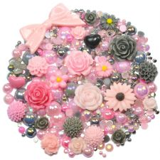 'PINK GREY' Theme Rhinestone and Cabochon Mix